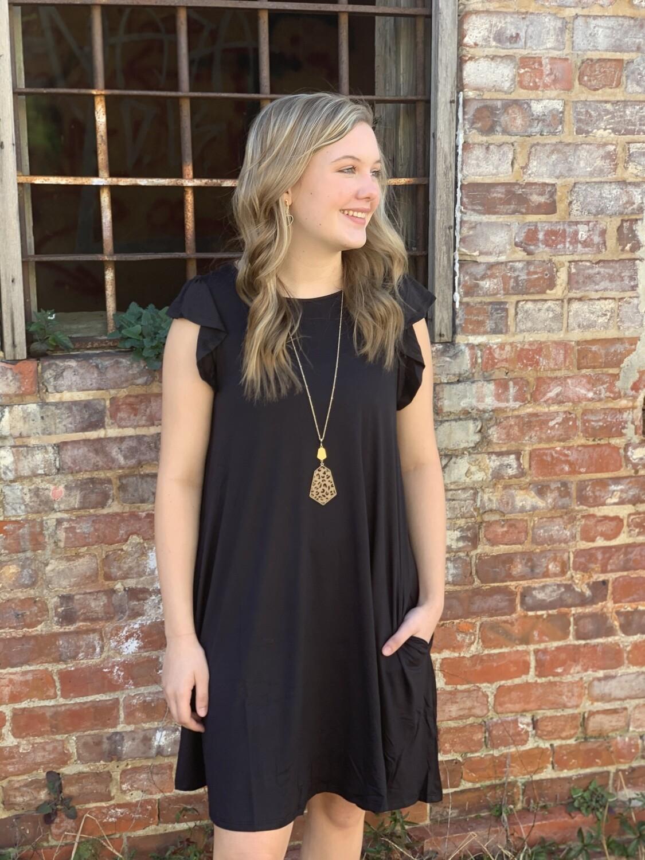 Black Ruffle-sleeve Dress