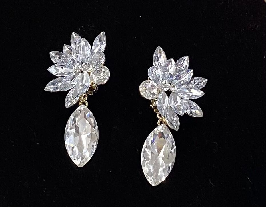 Clear Flower Clip On Earrings