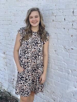 Leopard Print Ruffle Sleeve Dress