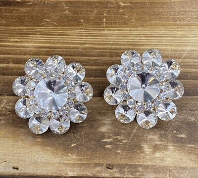 Clear Stone Flower Round Clip On Earrings