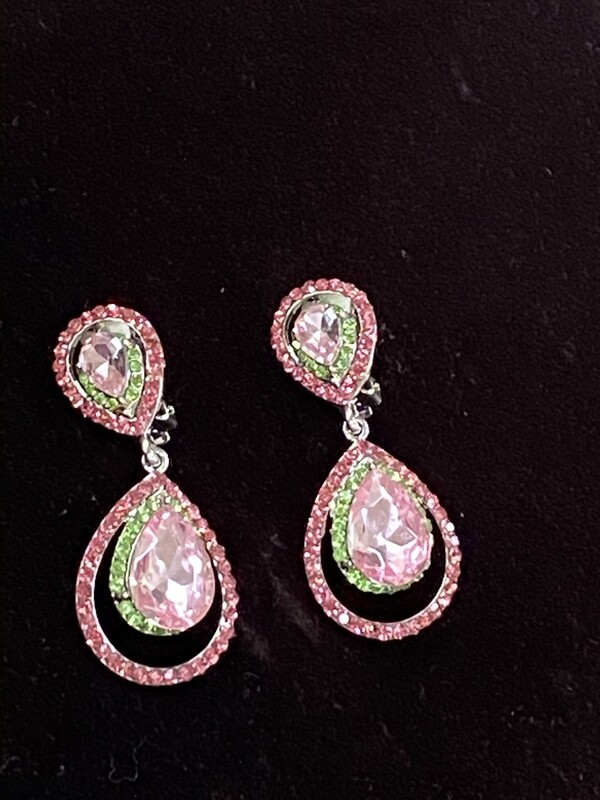 Pink/Green Clip On Eve Earrings