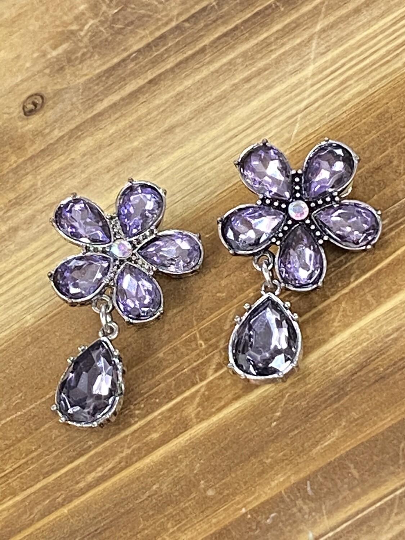 Purple Flower Clip On Earrings