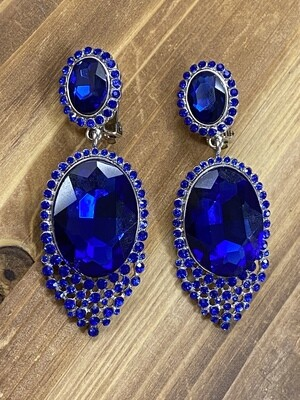 Royal Blue Clip On Earrings