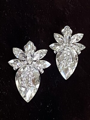 Firework Clear Stone Clip On Earrings