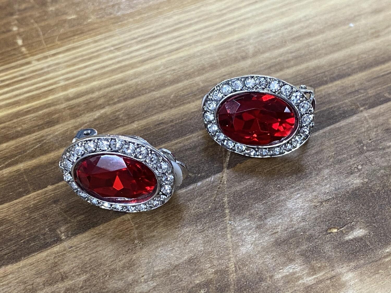 Red Oval w/Clr Stones Clip On Earrings