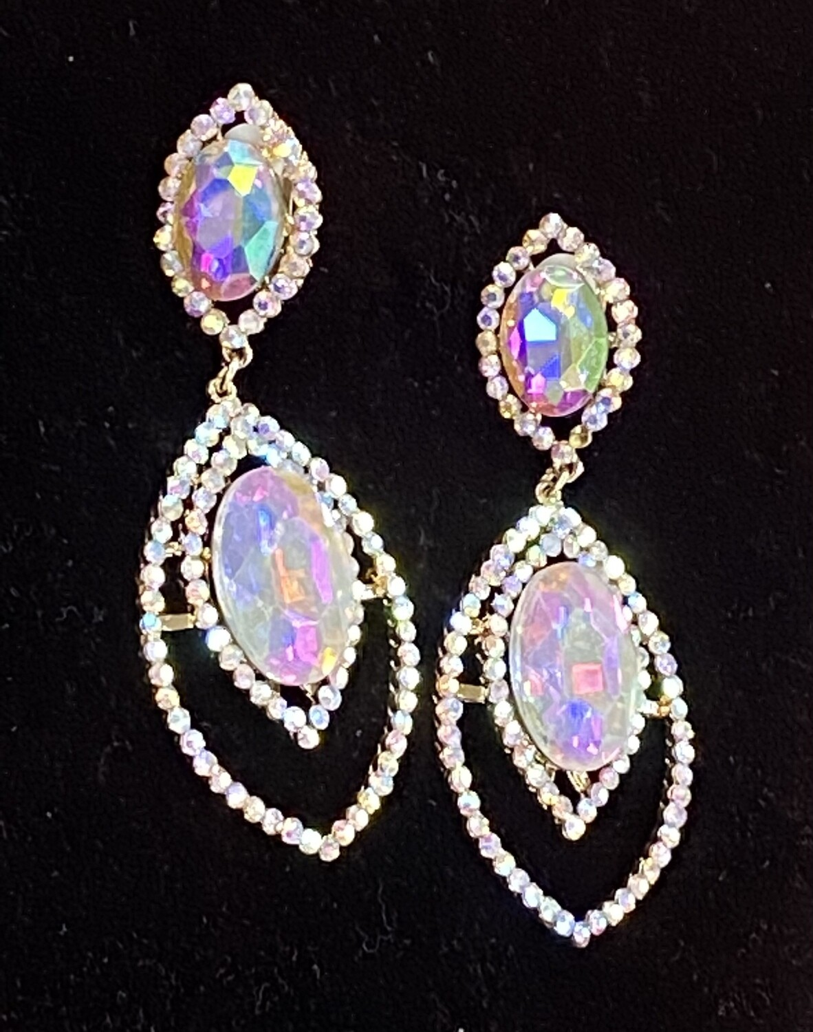 Large AB Clip On Earrings