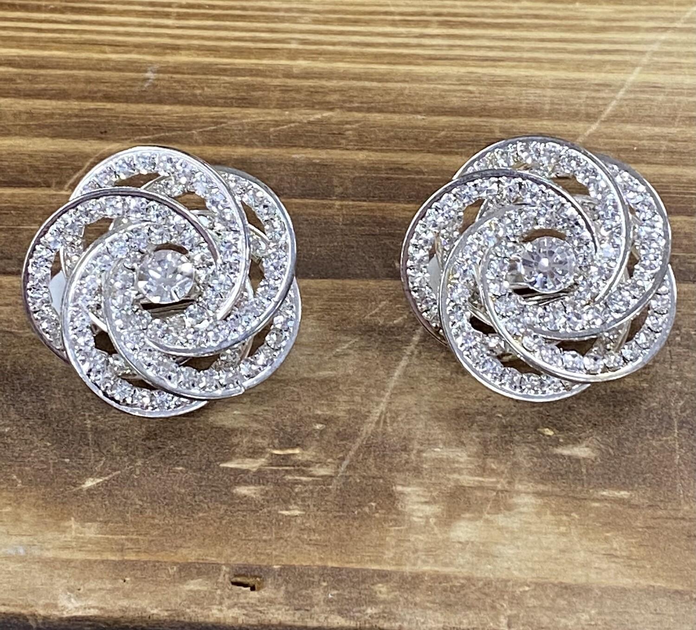 Swirl Clear Stone Clip On Earrings