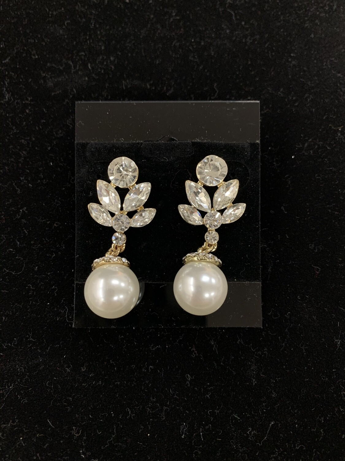 Formal Earrings Gold Clear Small with Pearl
