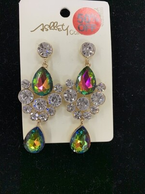 Formal Earrings Colored AB with Clear Stones