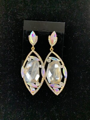 Formal Earrings Gold AB with Large Clear Stone