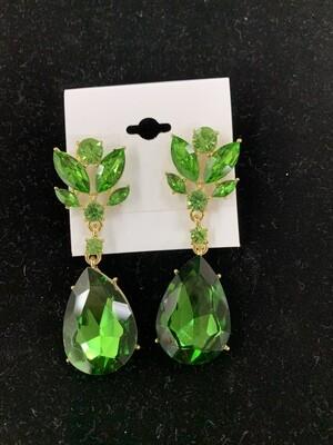 Formal Earrings Green Gold Teardrop