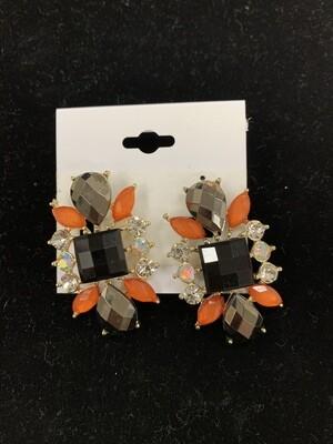 Black/Orange Formal Earring