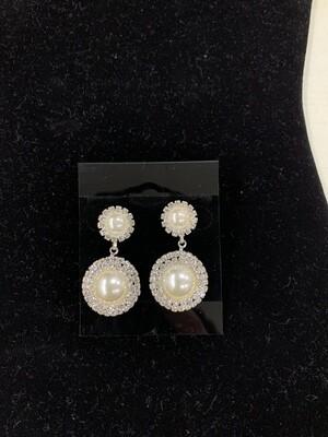 Formal Earrings Silver Clear Two Pearl