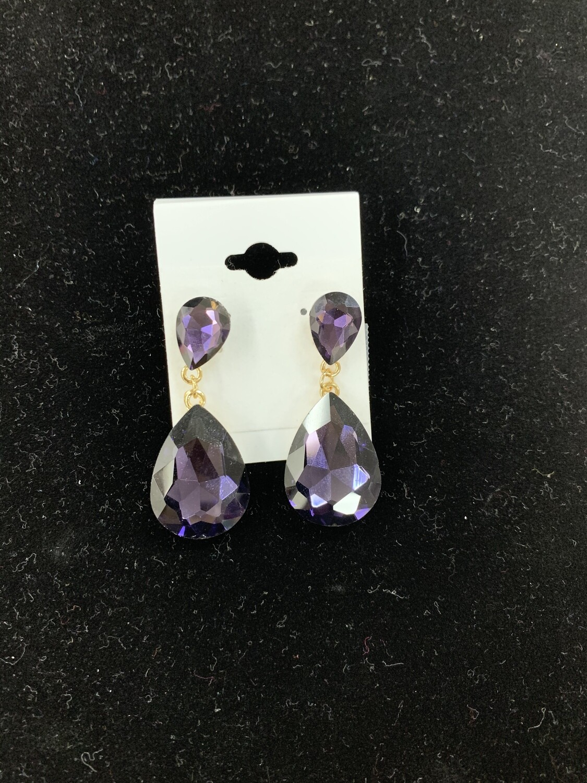 Formal Earrings Purple Teardrop