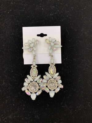 Blue AB Pageant Earrings