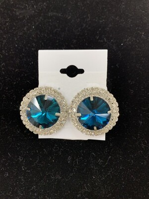 Formal Earrings Deep Turquoise Round Stud