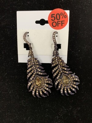 Dark Purple Feather Earrings