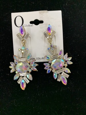 Formal Earrings Silver AB Shapes