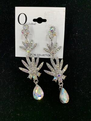 Formal Earrings Silver AB Peacock