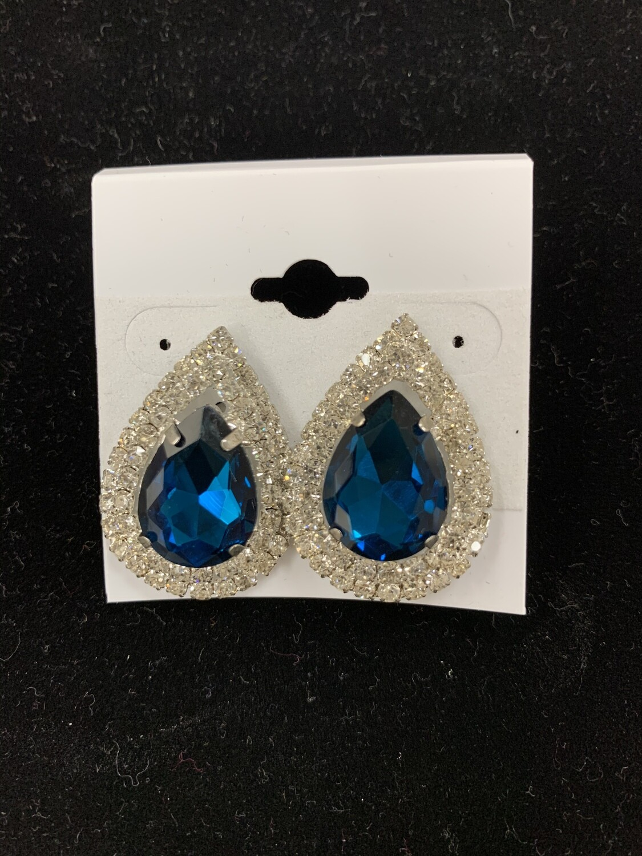 Formal Earrings Deep Turquoise Silver Almond Stud