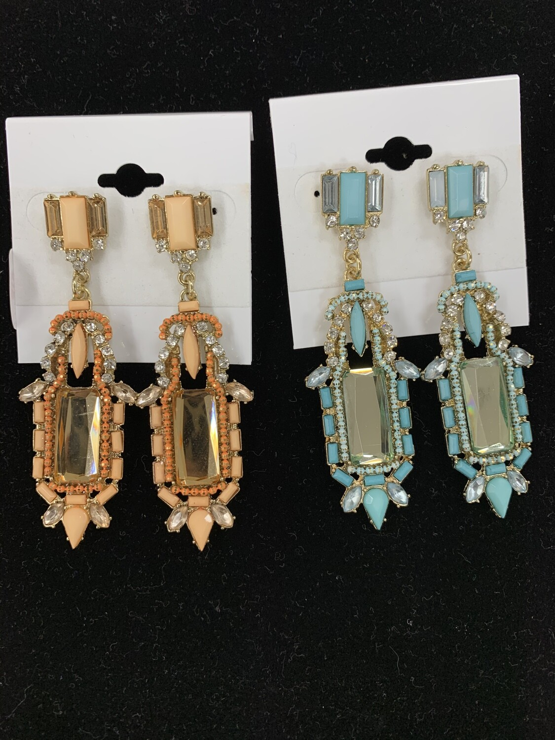 Rectangle Colored Formal Earrings