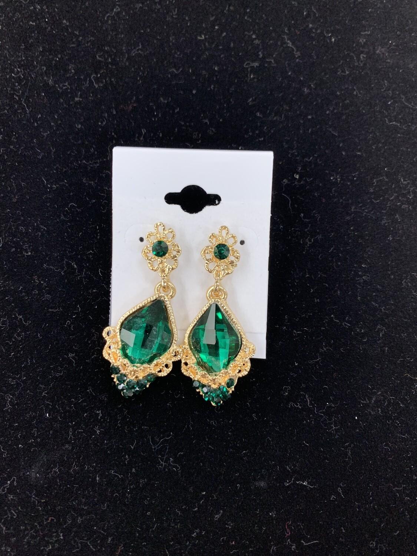 Formal Earrings Emerald Gold Detailed Teardrop