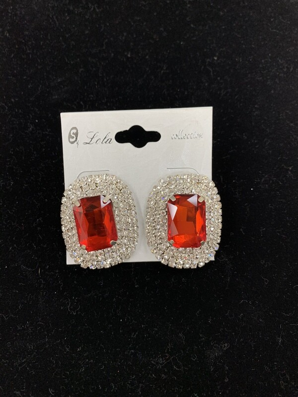 Red Rectangular Stud