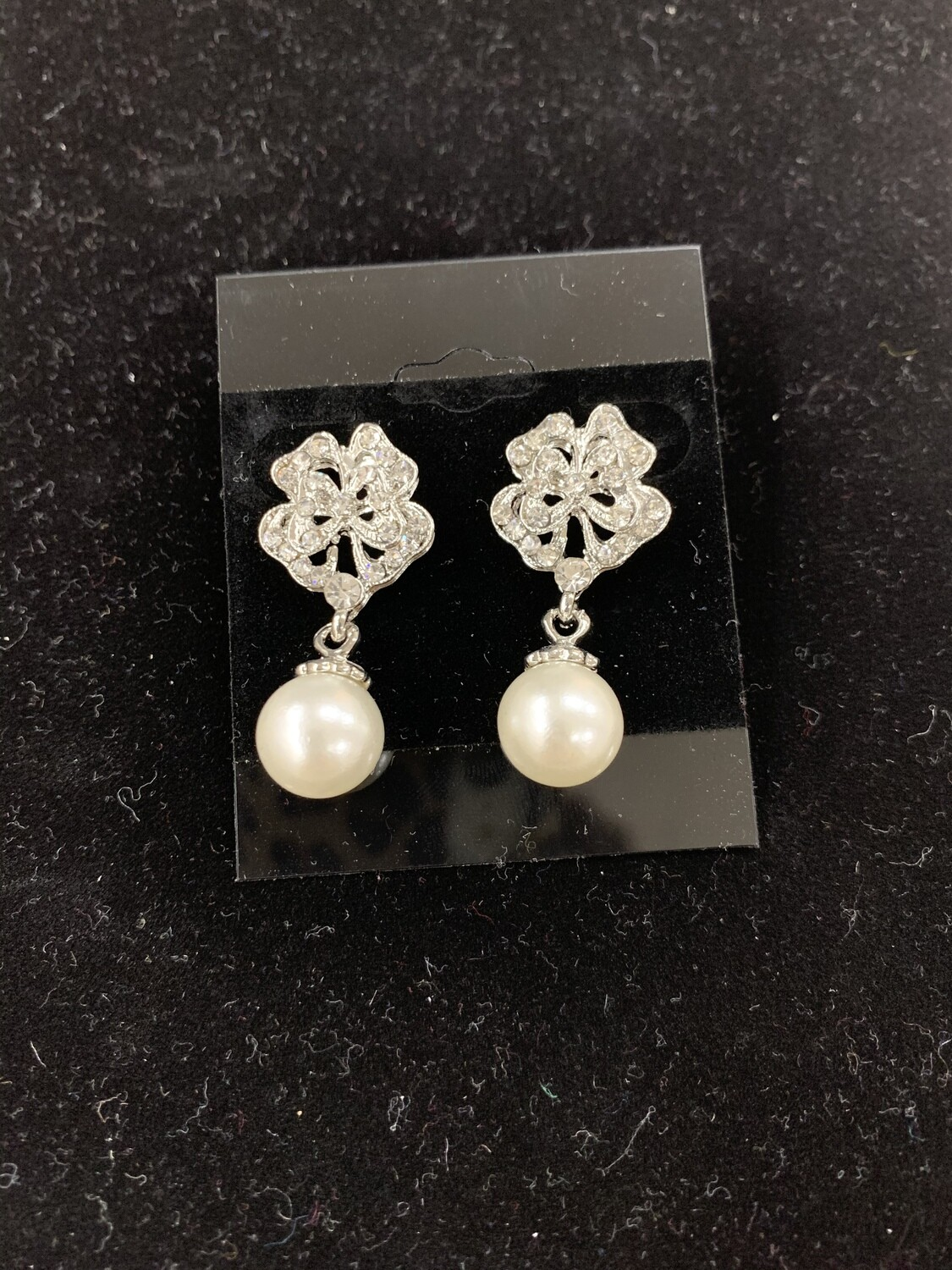 Formal Earrings Silver Clear Small Pearl