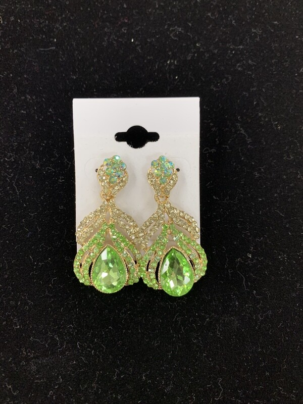 Small Green Evening Earrings