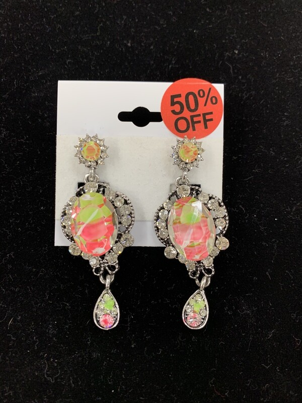 Small Pink/Green Pageant Earrings
