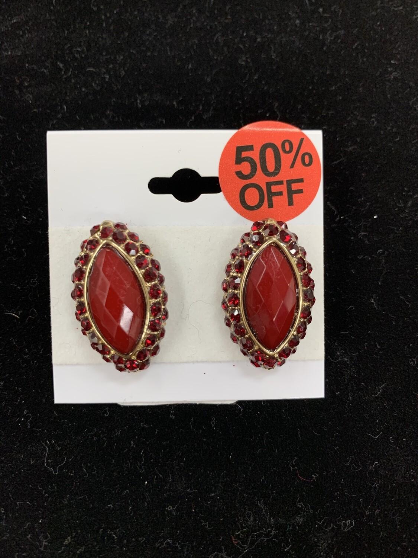 Dark Red Oval Formal Earrings