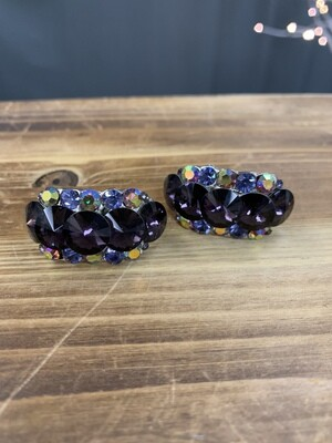Colored Clip On Earrings with AB