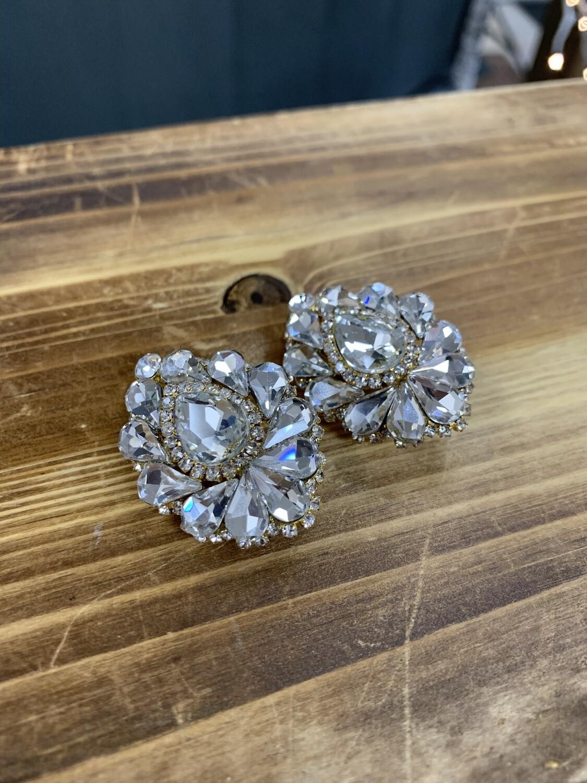 Clear Gold Base Clip On Earrings