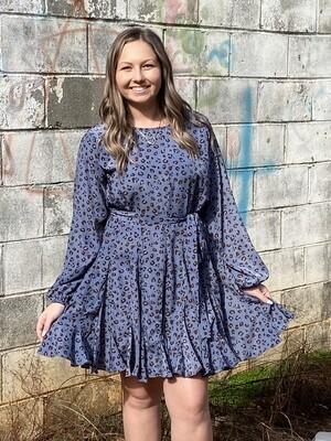 Blue Leopard Swing Dress
