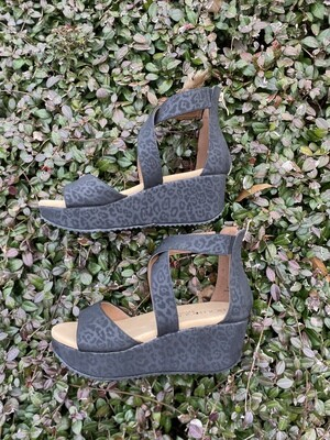 Corky Black Leopard Wedges
