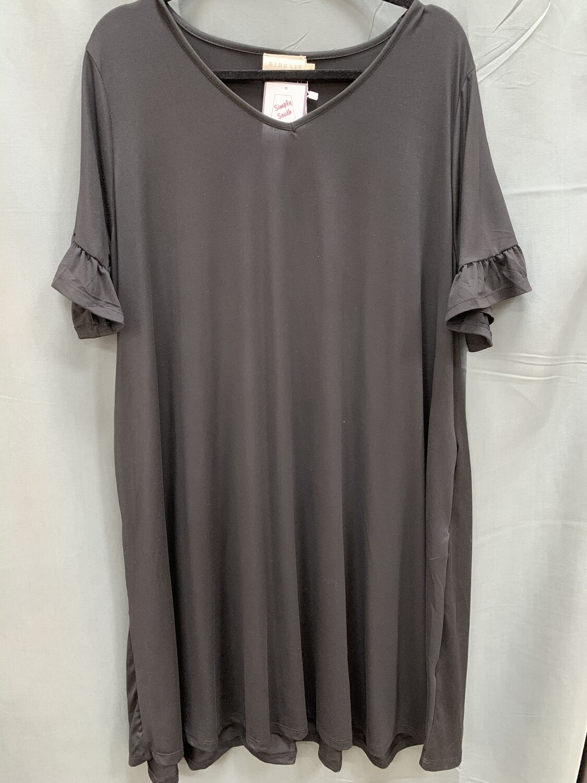 Black V-Neck Ruffle Dress (Plus)