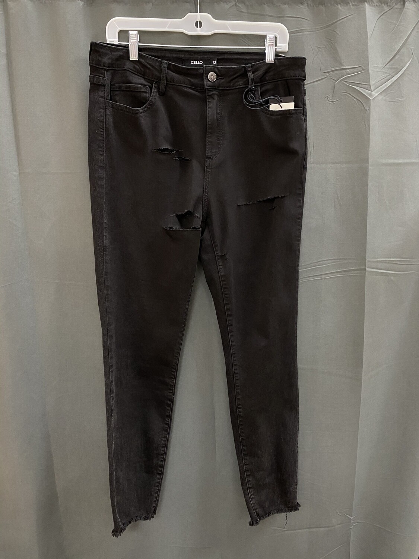 Black Distressed Skinny Jeans Cello (Plus)