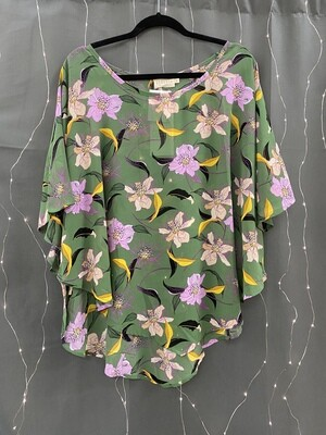 Green Floral Polyester Top (Plus)