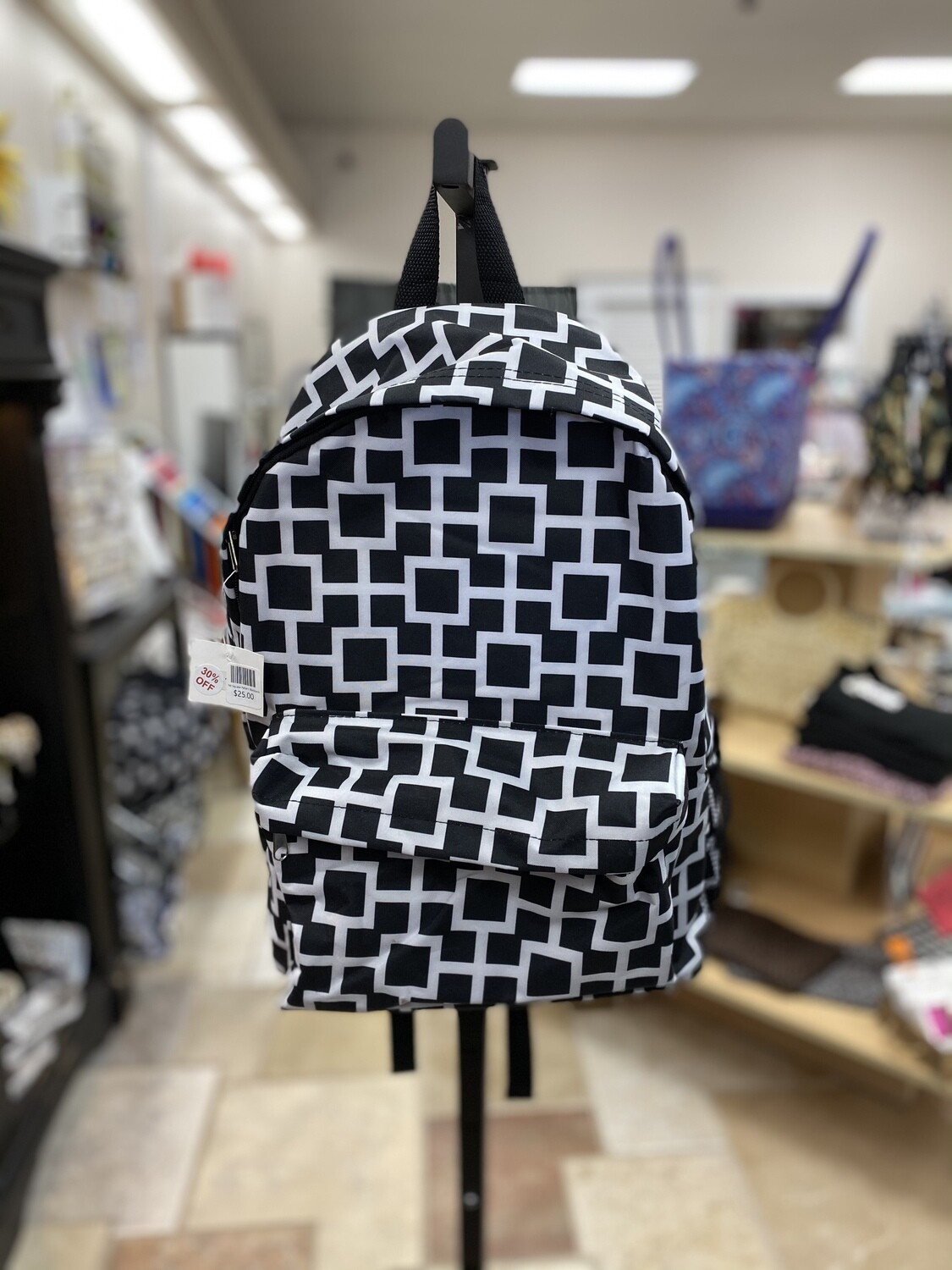 B/W Square Pattern Backpack