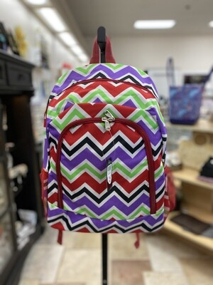 Red/Lime Chevron Backpack