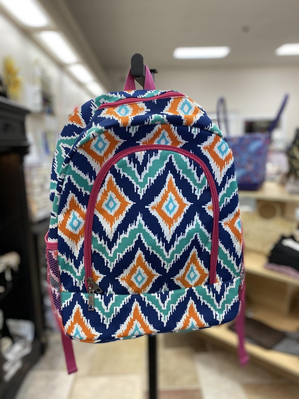 Orange/Teal Misc Pattern Backpack