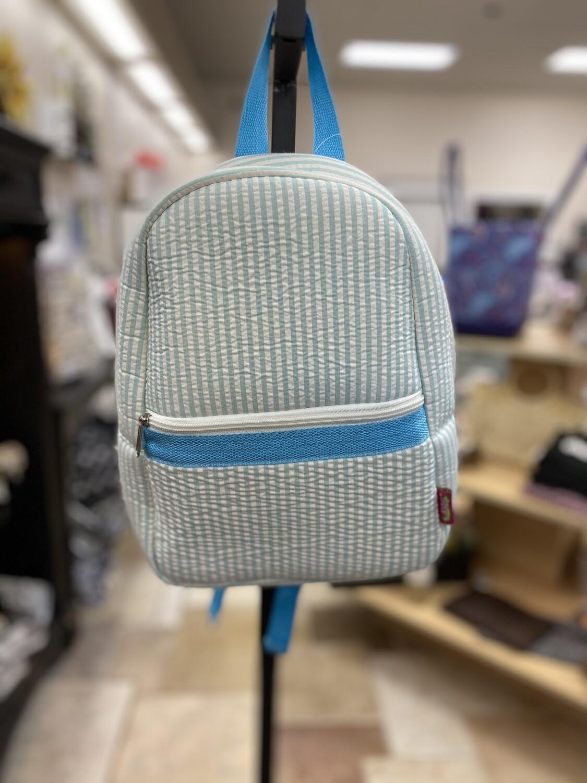 Blue Seersucker Preschool Backpack