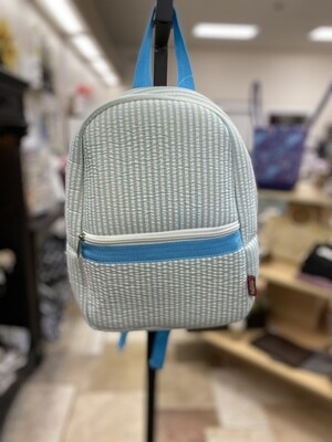 Blue Seersucker Preschool Backpack