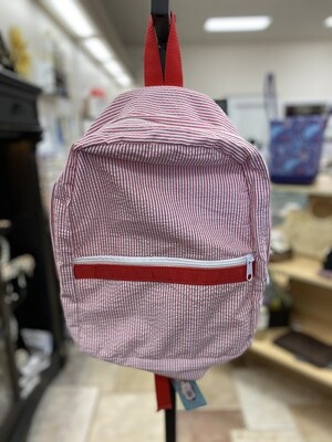 Red Seersucker Backpack