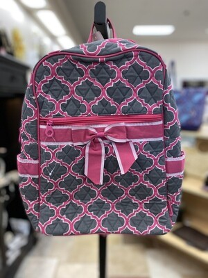 Quilted Gray/Pink Backpack