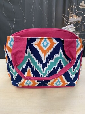 Orange/Teal Misc Pattern Pink Lunch Tote