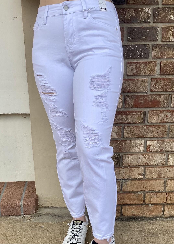 White Destroyed Skinny Stretch Jeans