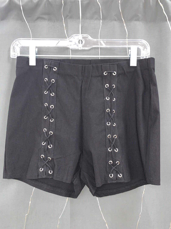 Black Criss Cross Tight Shorts