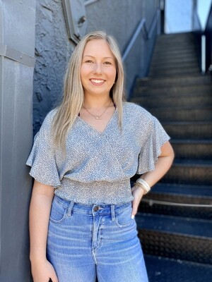 Dusty Blue Speckled Top
