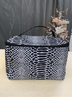 Black Snakeskin Makeup Bag V&L